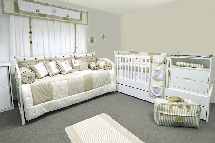 Chambre bebe tons beige blanc