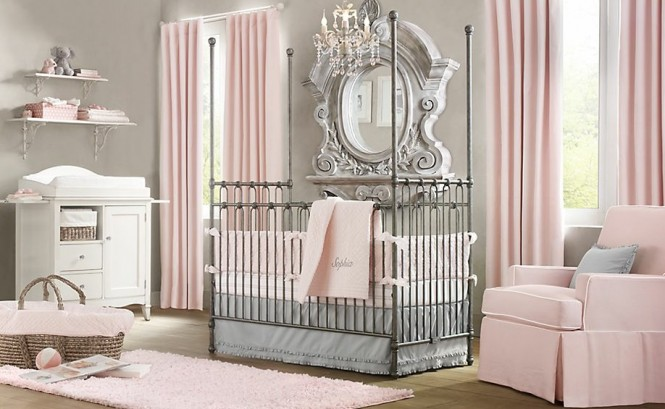 Chambre bebe tons roses