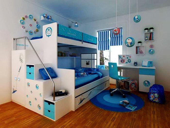 Chambre enfant bleu et blanc