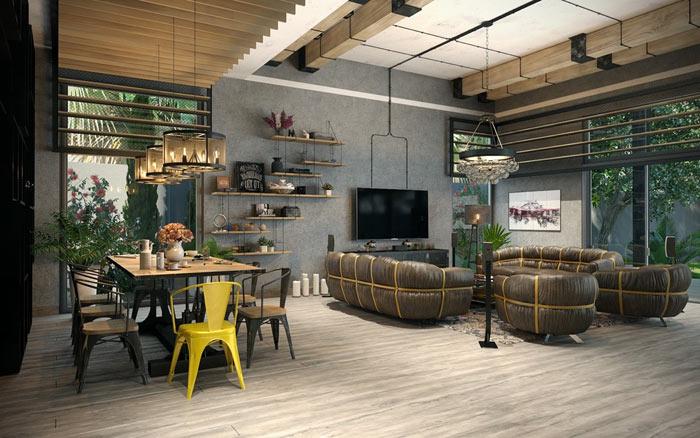 Salle manger industrielle les tendances actuelles envie d co - Deco salle a manger industrielle ...