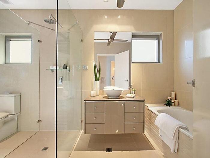 Salle de bain moderne en 2 espaces