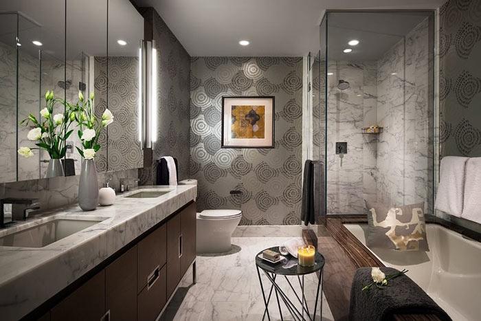 Salle de bain moderne marbre papier peint