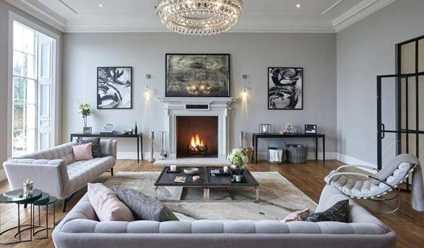 Tons gris chaleureux salon scandinave