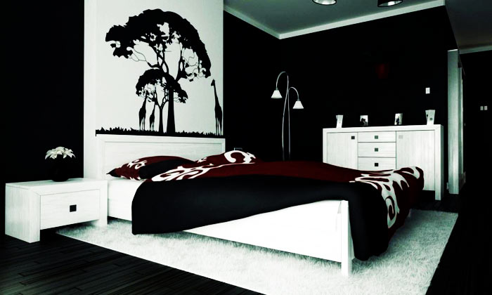 Chambre adulte murs sombres