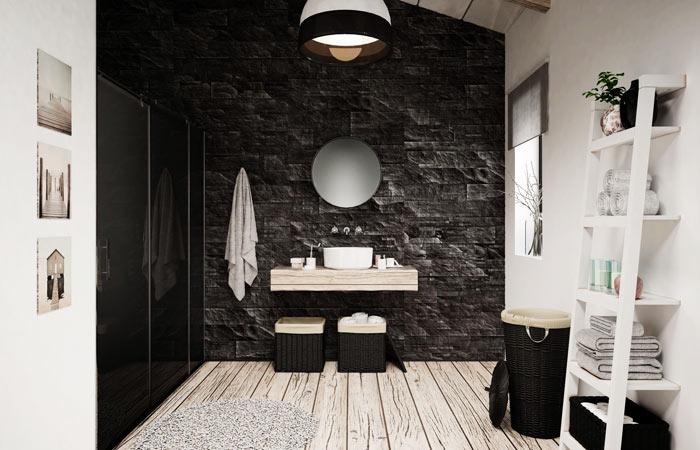 Salle de bain scandinave bois plaquettes parement