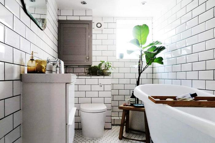 Salle de bain scandinave carrelage metro