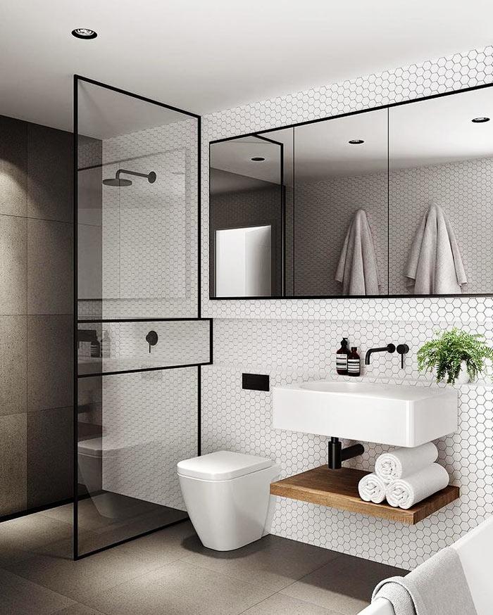 Salle de bain scandinave ceramique douche bain