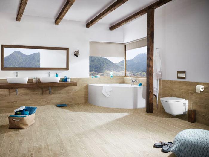Salle de bain scandinave ceramique style bois