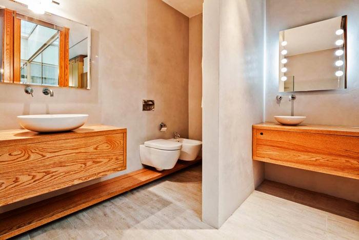 Salle de bain scandinave meubles suspendus