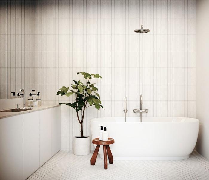 Salle de bain scandinave simple fonctionnelle