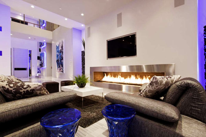 Salon moderne cheminee bioethanol