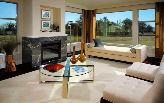 Salon moderne marbre verre