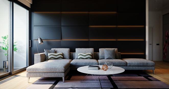Salon moderne mur noir leds