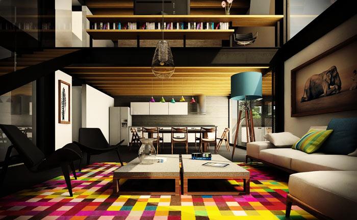 Salon moderne tapis colore
