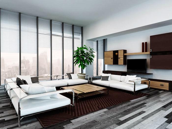 Salon moderne tons gris blanc