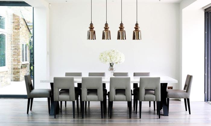 Salle a manger moderne et luminaires