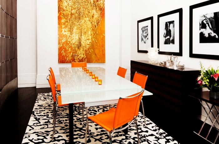 Salle a manger moderne orange blanc noir chrome