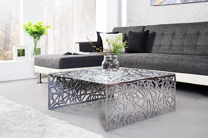 Table basse métal ajouré
