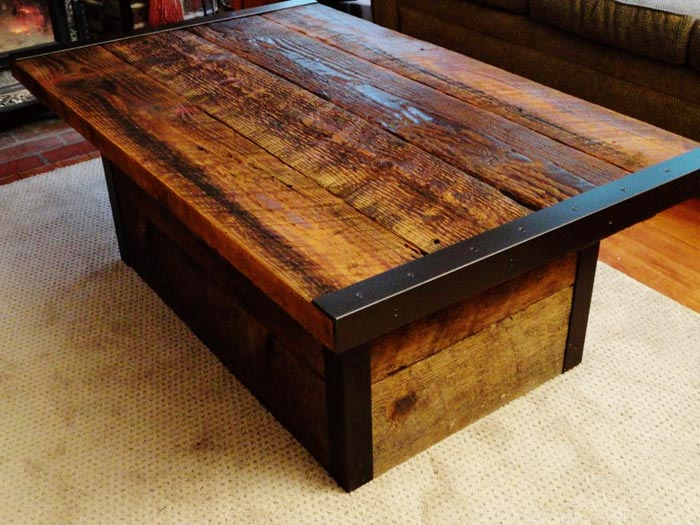 Table basse rustique bois acier
