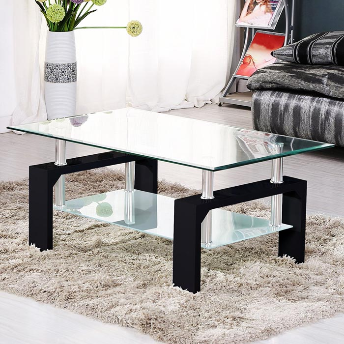 Table basse verre chrome bois