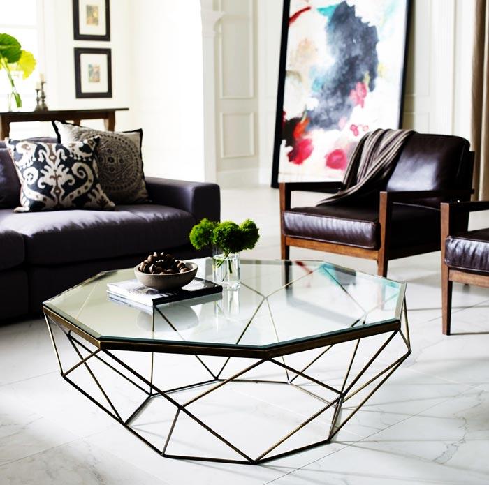 Table basse verre métal octogonale
