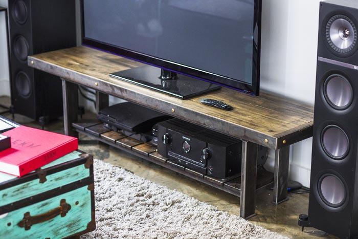 Meuble tv enfilade acier