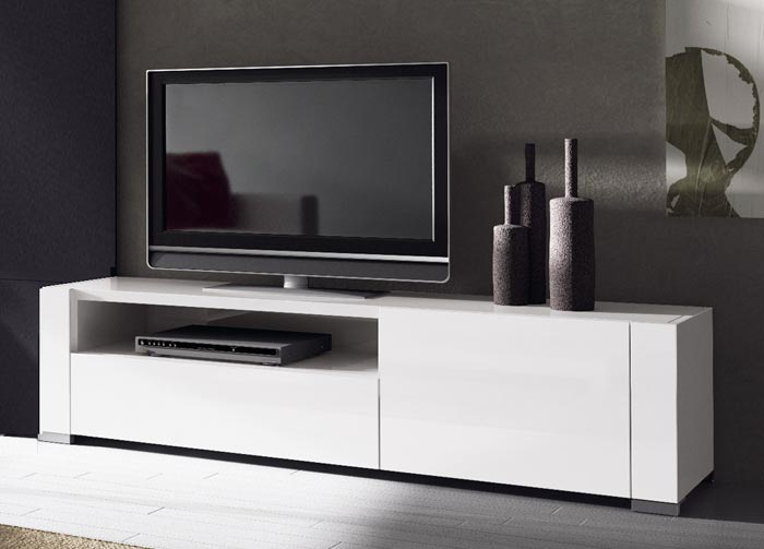 Meuble tv laque blanc